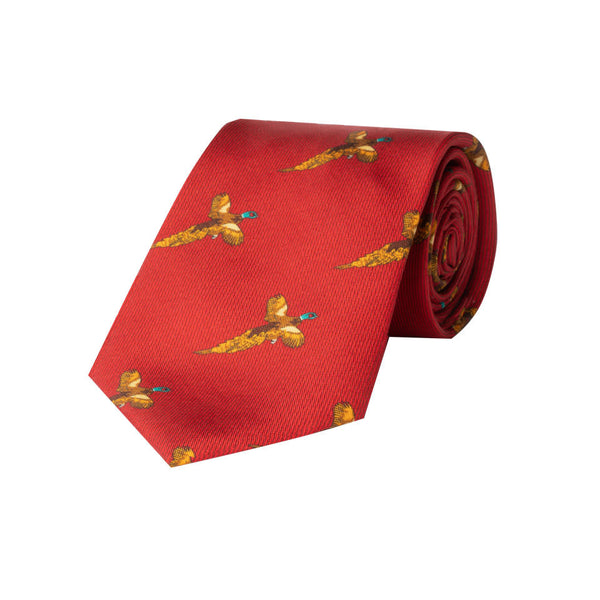 Flying Pheasant Silk Tie in Red - croftonandhall