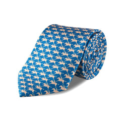 Royal Ascot Horse & Jockey Silk Tie in Blue and Pearl - croftonandhall