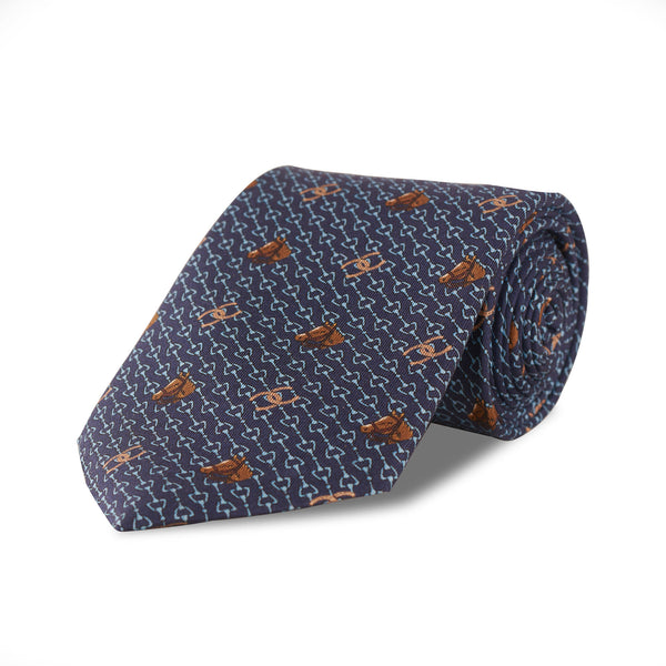 Horseshoe Silk Tie in Navy - croftonandhall