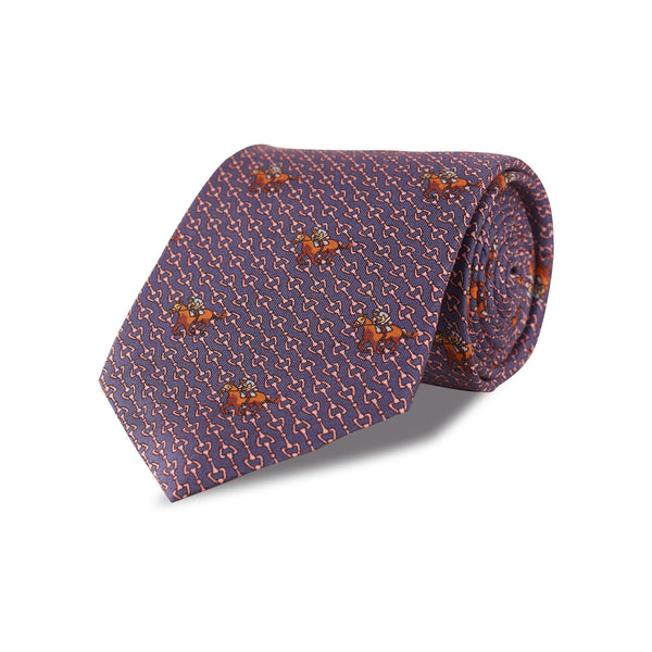 Race Horse Silk Tie in Purple - croftonandhall