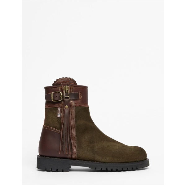 Inclement Cropped Tassel Boot in Seaweed/Conker - croftonandhall
