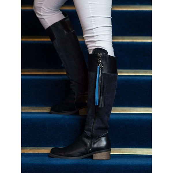 Mayfair Navy Suede & Leather Waterproof Boots - croftonandhall