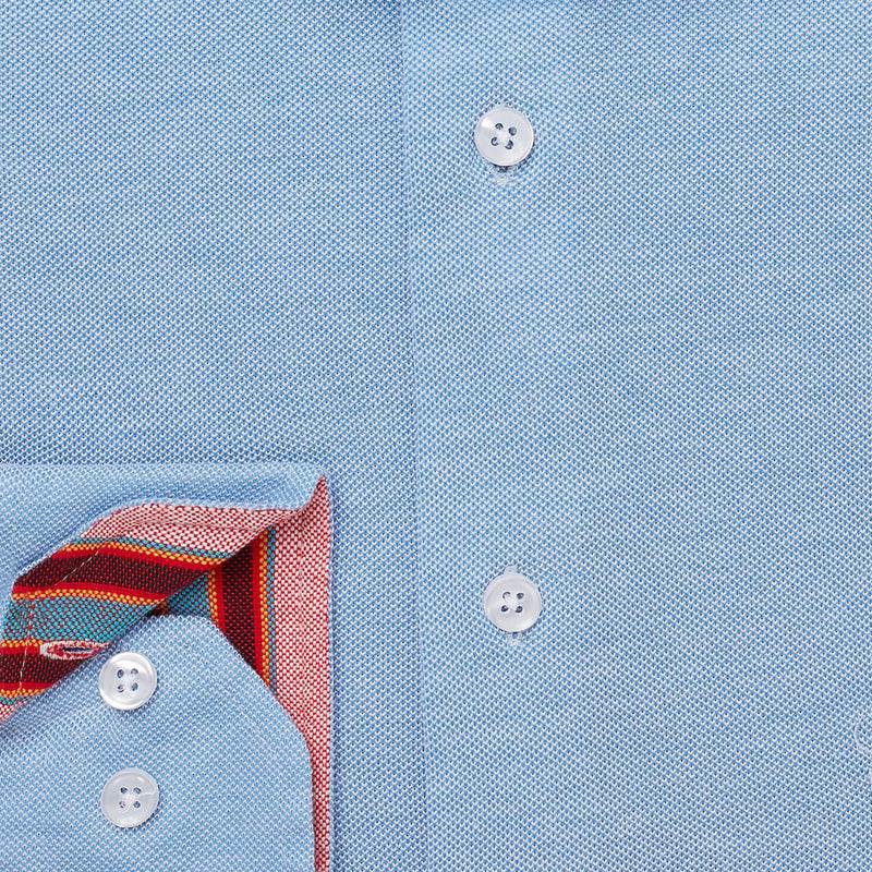 Blue Pique Cotton Shirt - Jiwe - croftonandhall