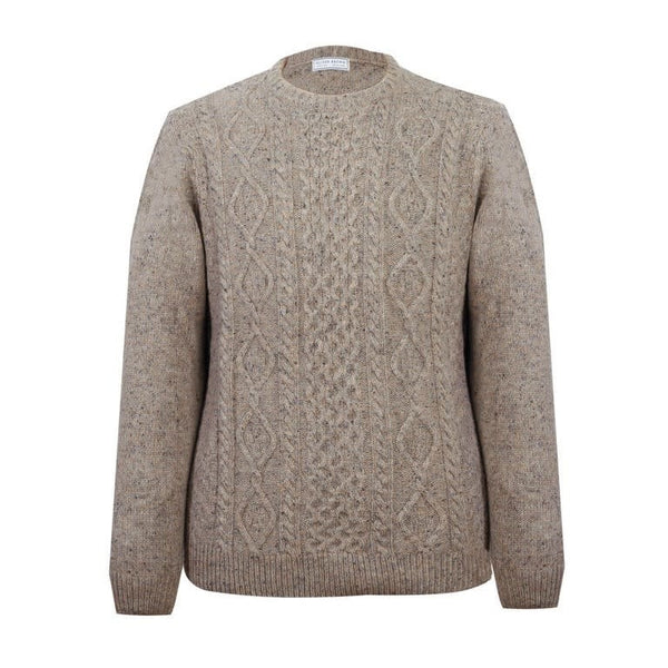 Lambswool Arran Crew Neck Jumper - Pebble - croftonandhall