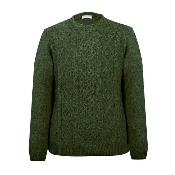 Lambswool Arran Crew Neck Jumper - Forest - croftonandhall