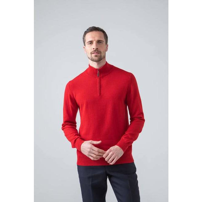 Classic Cashmere Zip Neck Jumper in Classic Red - croftonandhall
