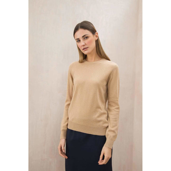 Classic Round Neck Cashmere Jumper in Soft Camel - croftonandhall