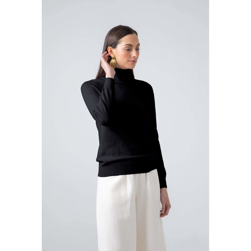 Classic Roll Neck Cashmere Jumper in Black - croftonandhall