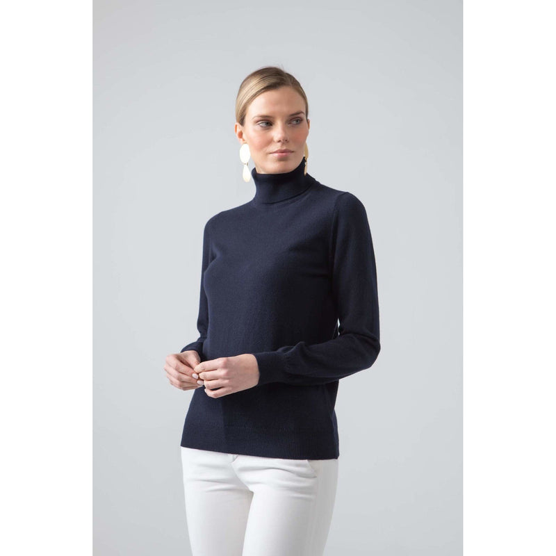 Classic Roll Neck Cashmere Jumper in Dark Navy - croftonandhall