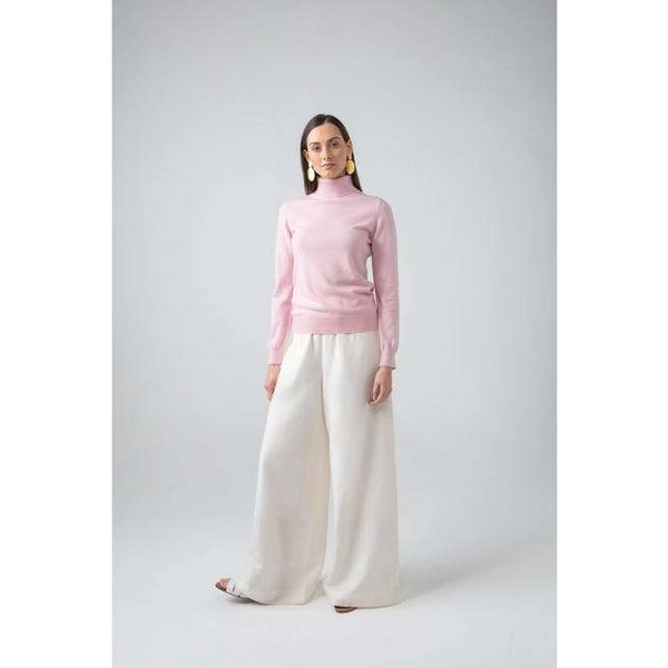 Classic Roll Neck Cashmere Jumper in Powder Pink - croftonandhall