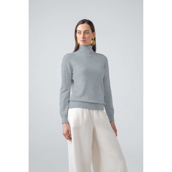 Classic Roll Neck Cashmere Jumper in Silver - croftonandhall