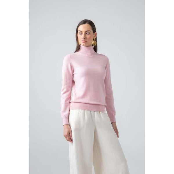 Classic Roll Neck Cashmere Jumper in Powder Pink - Crofton & Hall