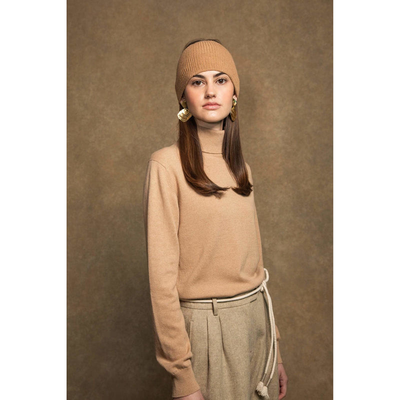 Classic Roll Neck Cashmere Jumper in Soft Camel - croftonandhall