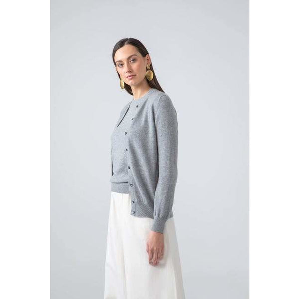 Classic Round Neck Cashmere Cardigan in Silver - croftonandhall