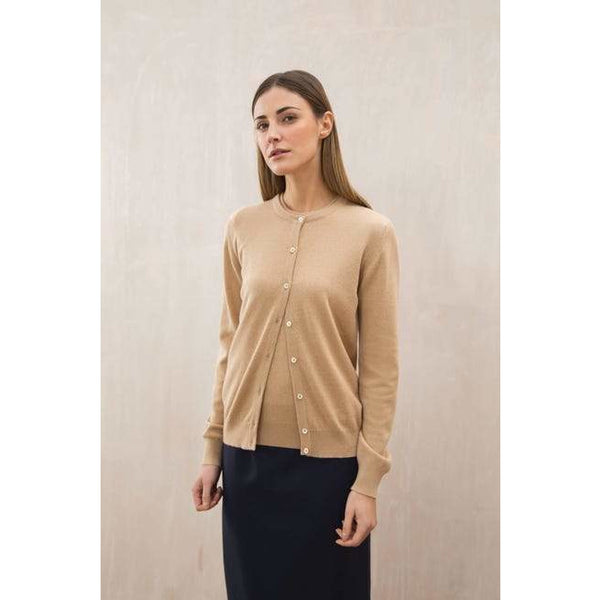 Classic Round Neck Cashmere Cardigan in Soft Camel - croftonandhall