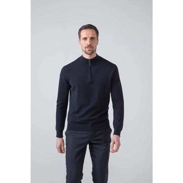 Classic Cashmere Zip Neck Jumper in Dark Navy - croftonandhall