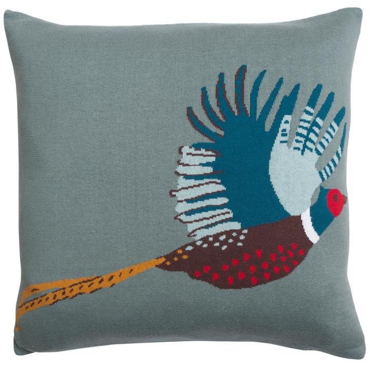 Pheasant Knitted Cushion - croftonandhall