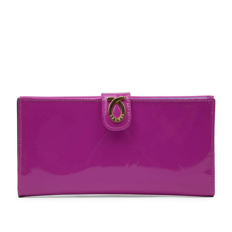 Large Logo purse Magenta Purse in Patent and Capri Blue - croftonandhall