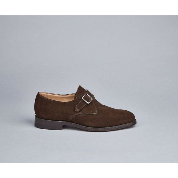Mayfair Monk Shoe in Chocolate Suede - croftonandhall