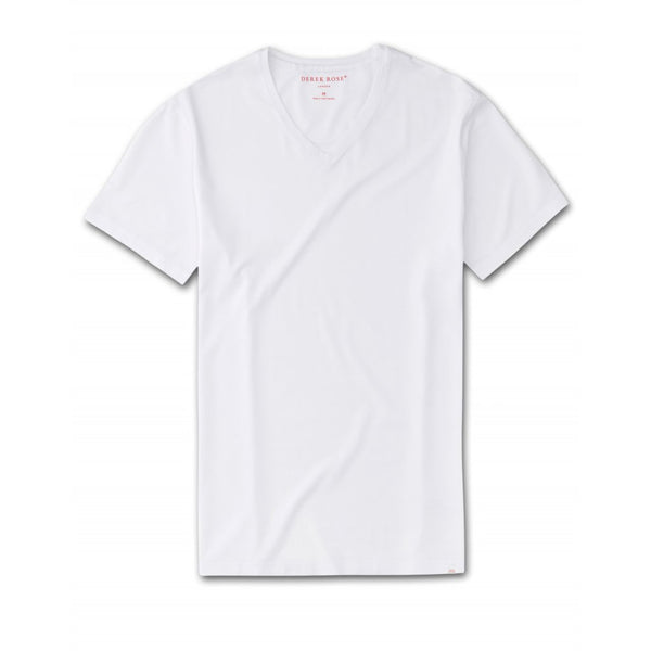 Men's Basel Micro Modal Short Sleeve V-Neck T-Shirt in White - croftonandhall