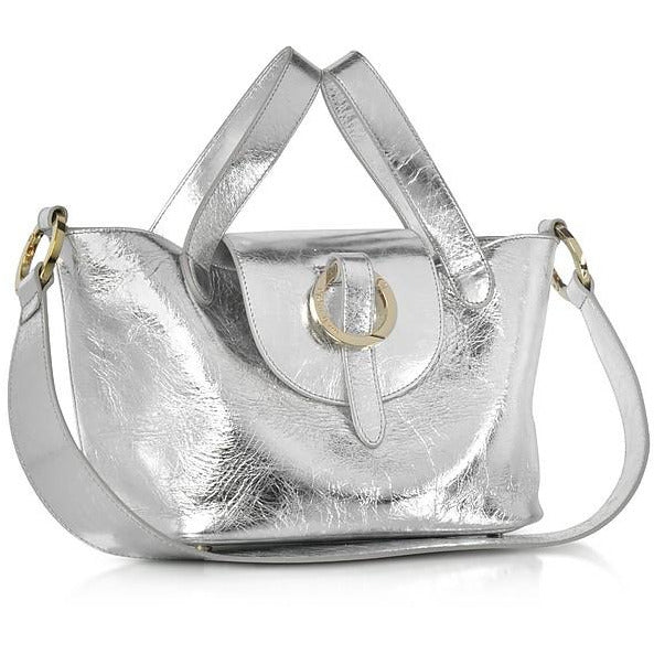 Thela Mini in Silver Cross Body Handbag - croftonandhall
