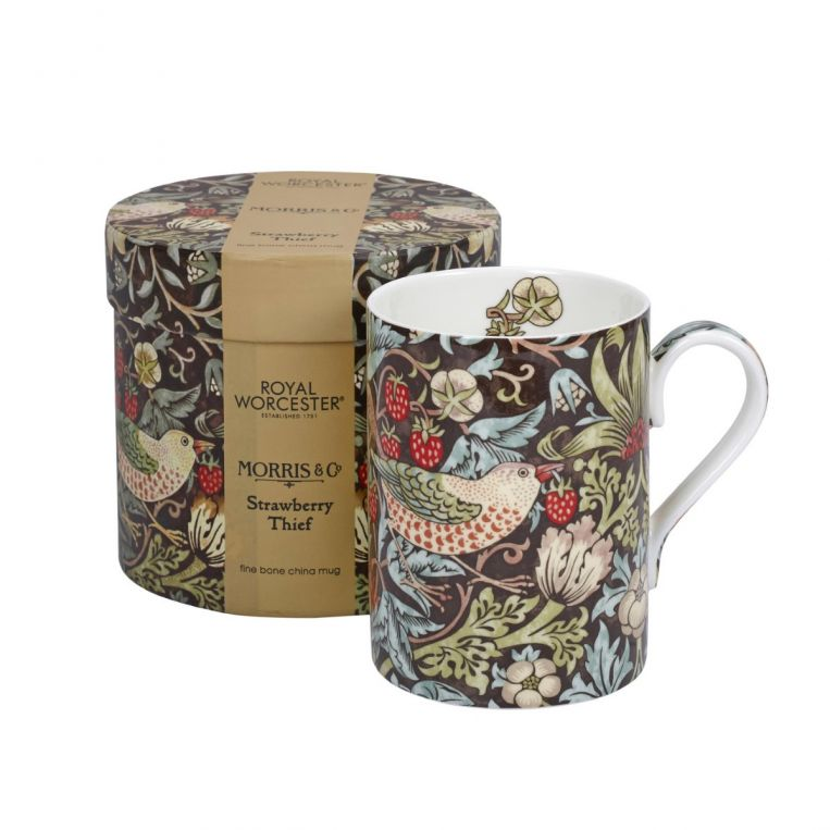 Morris & Co Strawberry Thief Chocolate Slate Mug - croftonandhall
