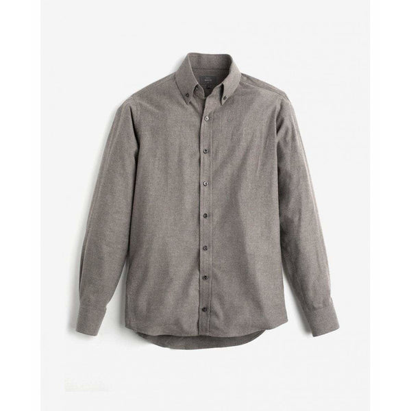 Brushed Cotton Button Down Shirt in Brown - croftonandhall