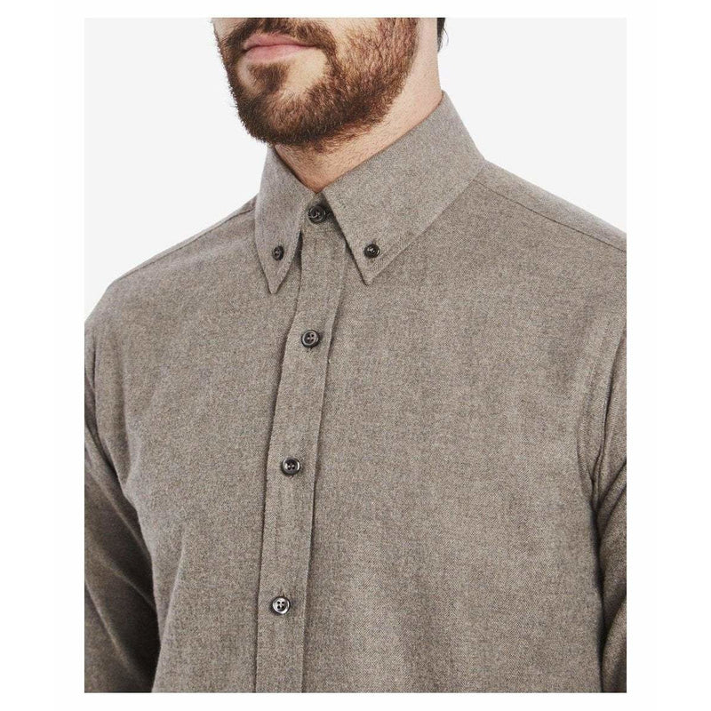 Brushed Cotton Button Down Shirt in Brown - Crofton & Hall