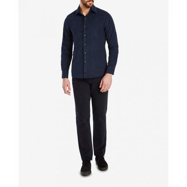 Cord Plain Collar Shirt in Navy - croftonandhall