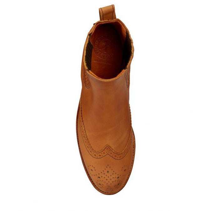 Penelope Chilvers Salva Leather Brogue Boot in Tan - croftonandhall