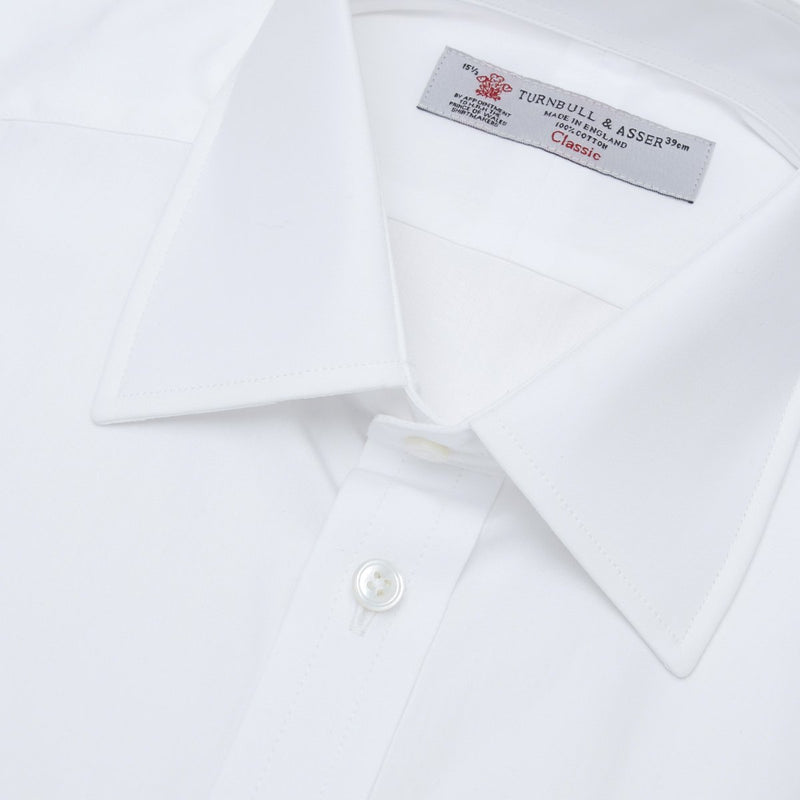 Plain White Cotton Shirt with T&A Collar and Double Cuffs - croftonandhall