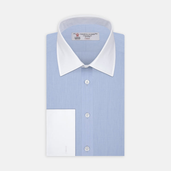 Light Blue End-on-End Shirt with T&A Collar and Double Cuffs - croftonandhall