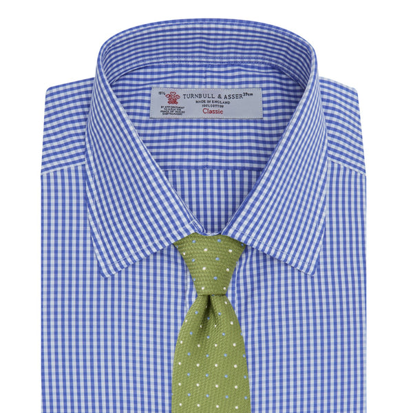 Mid-Blue Gingham Check Shirt with T&A Collar and 3 Button Cuff - croftonandhall