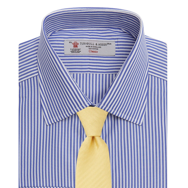 Blue Bengal Stripe Cotton Shirt with T&A Collar and Double Cuffs - croftonandhall