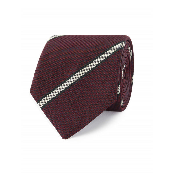 Burgundy with Green & White Check Stripe Woven Silk Tie - Crofton & Hall
