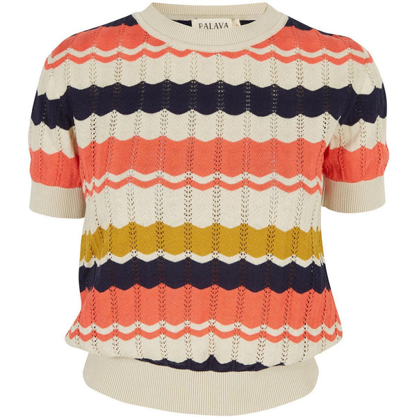 EVE ZIGZAG KNITTED TOP - NAVY AND CORAL | ORGANIC COTTON - croftonandhall