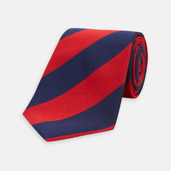 Navy & Red Block Stripe Silk Tie - croftonandhall