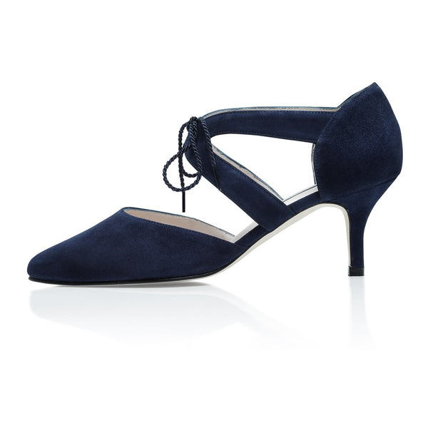 Ava Wide Fit Kitten Heel Shoes - Navy Suede - croftonandhall