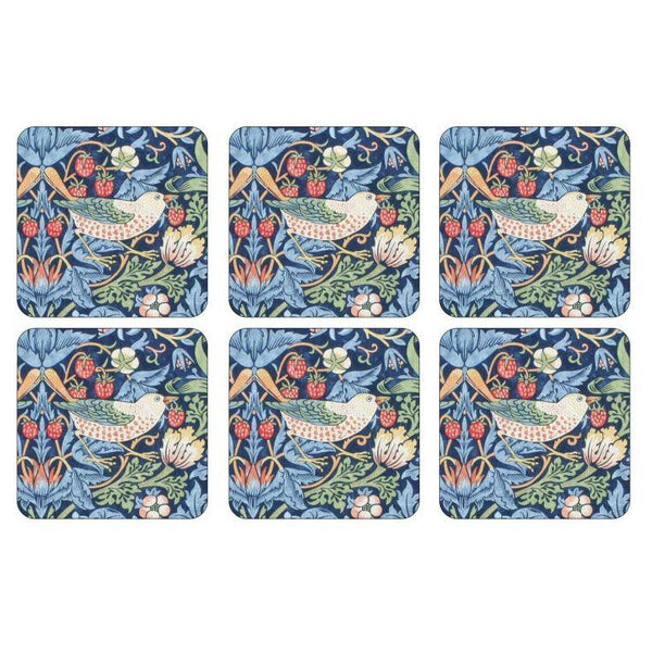 Morris and Co for Pimpernel Strawberry Thief Blue Coasters Set Of 6 - croftonandhall