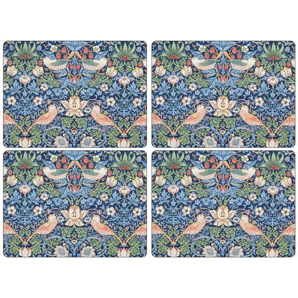 Morris and Co for Pimpernel Strawberry Thief Blue Placemats Set Of 4 - croftonandhall