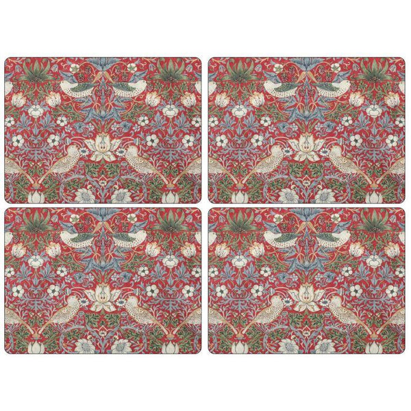Morris and Co for Pimpernel Strawberry Thief Red Placemats Set Of 4 - croftonandhall