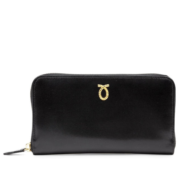 Zip Round Purse in Ebony Black - croftonandhall