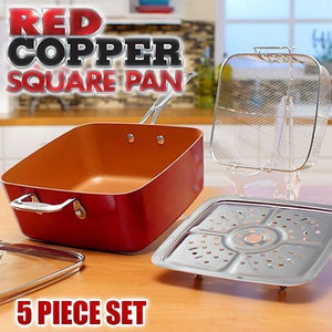 COPPER PAN™ DEEP DISH PRO SQUARE PAN SET WITH SURPRISE FREEBIES + FREE SHIPPING AND CASH ON DELIVERY