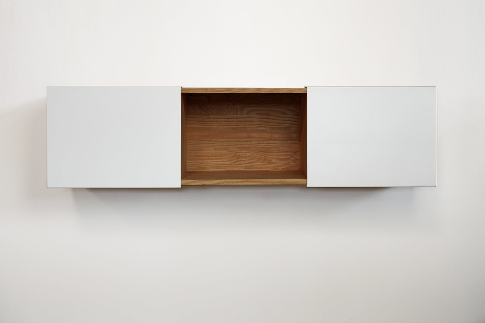 3X Wall Mounted Shelf - English Walnut, Gloss White Panel