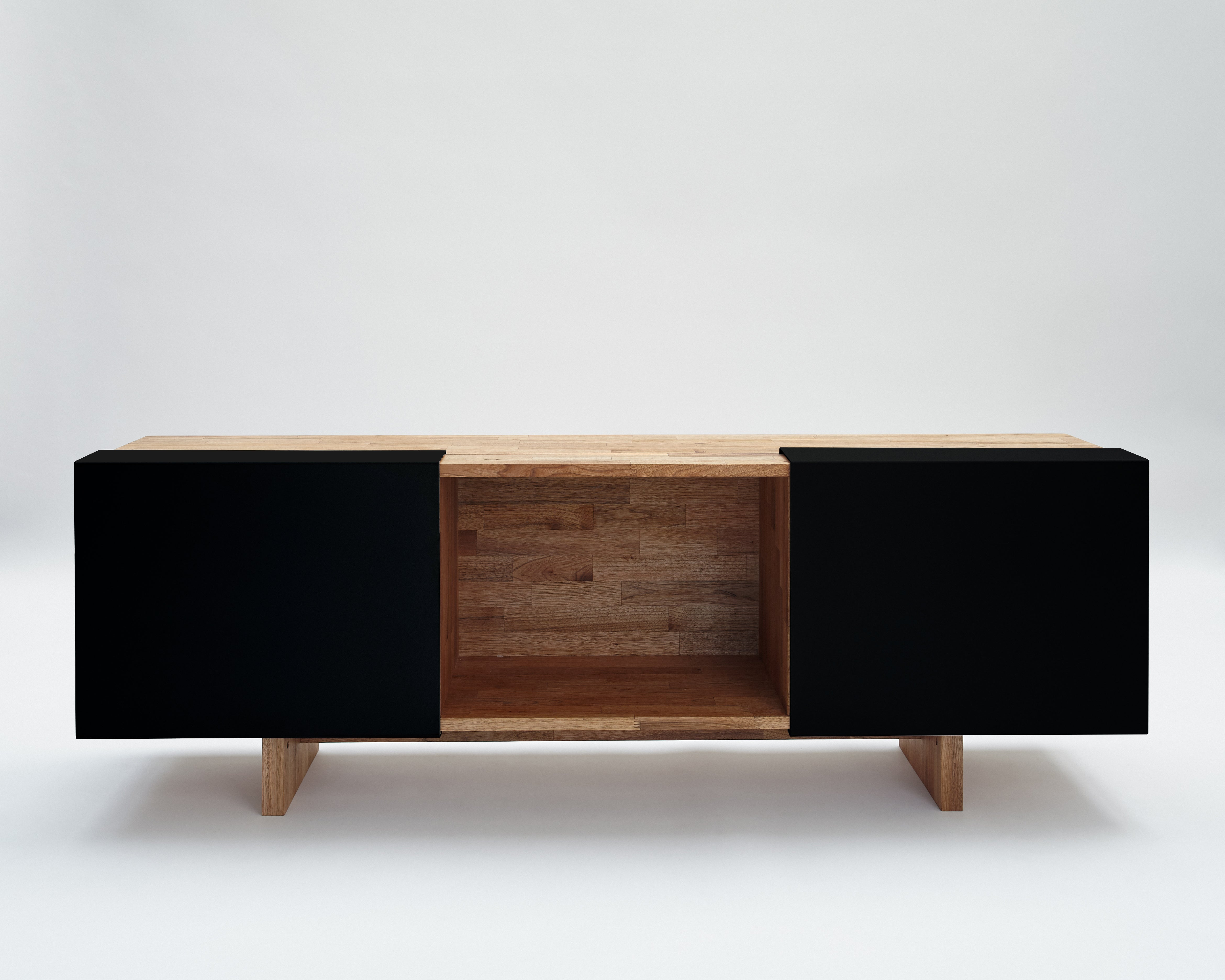 3X with Base- English Walnut, Matte Black Panel