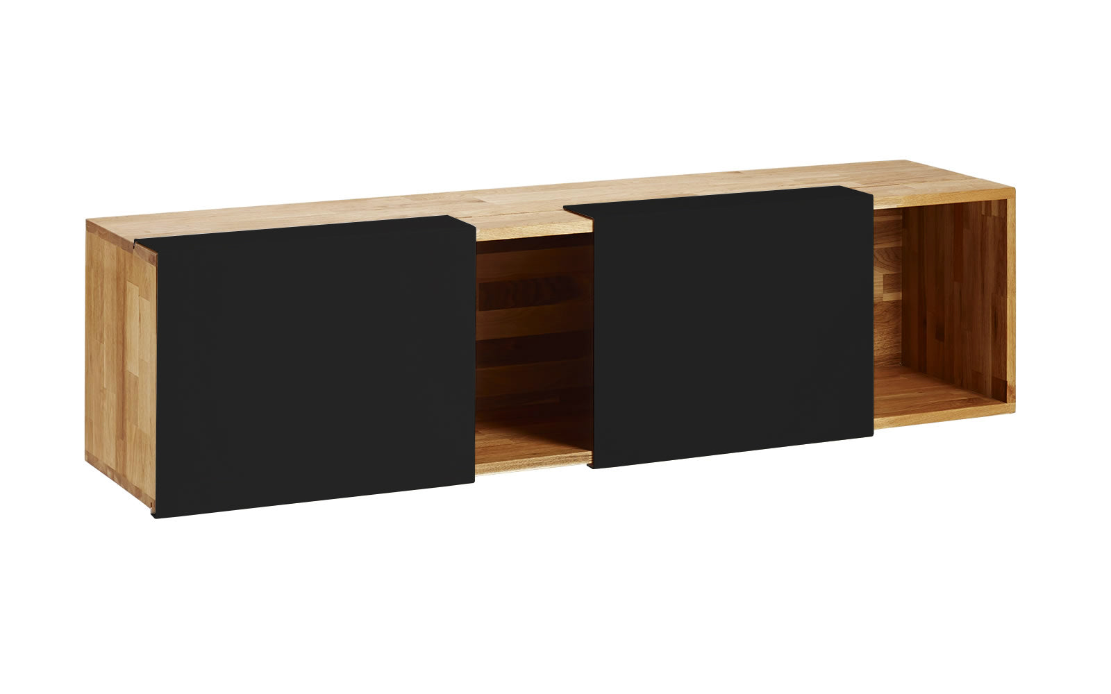 3X Wall Mounted Shelf- English Walnut, Matte Black Panel