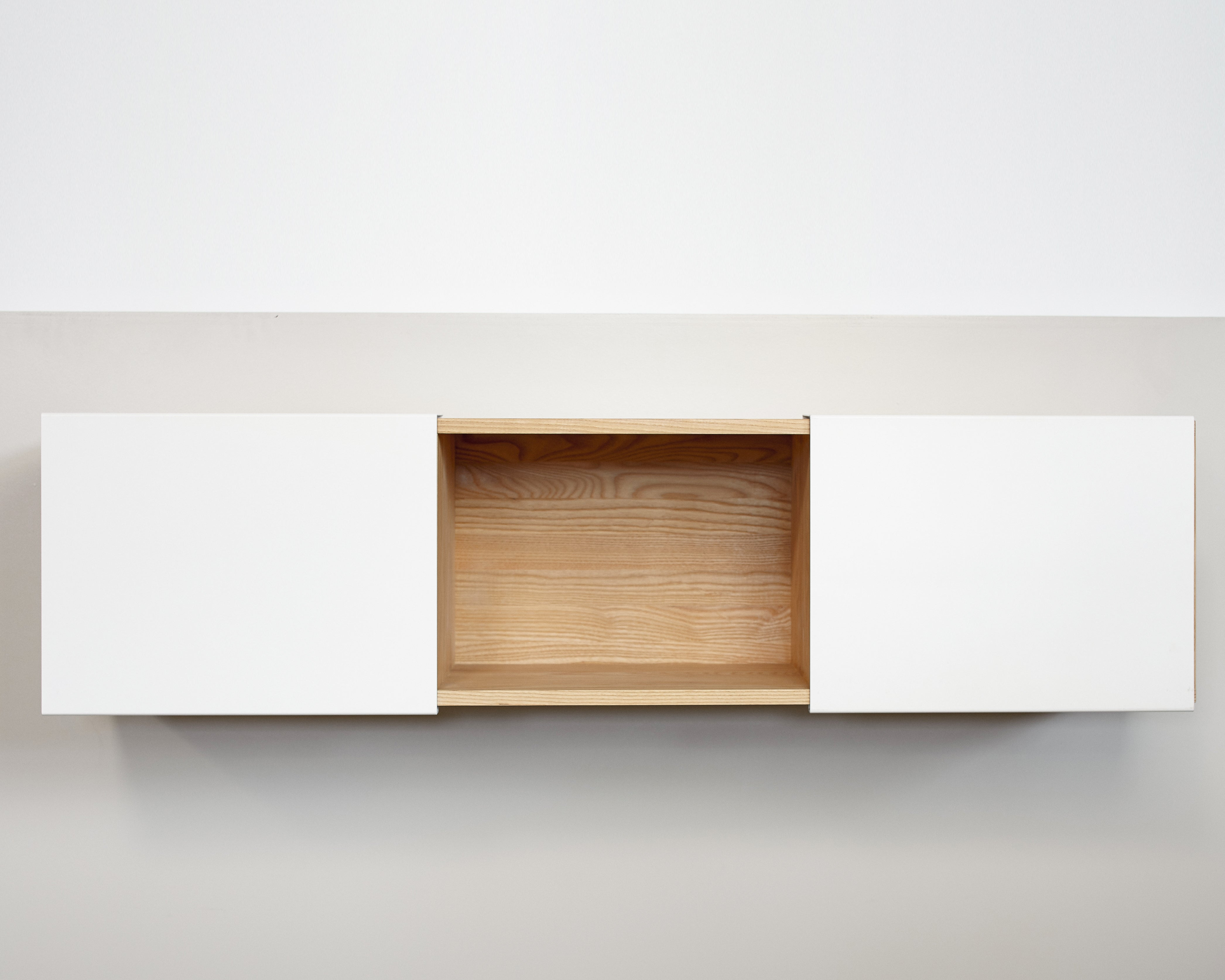 3X Wall Mounted Shelf- White Ash, White Panel