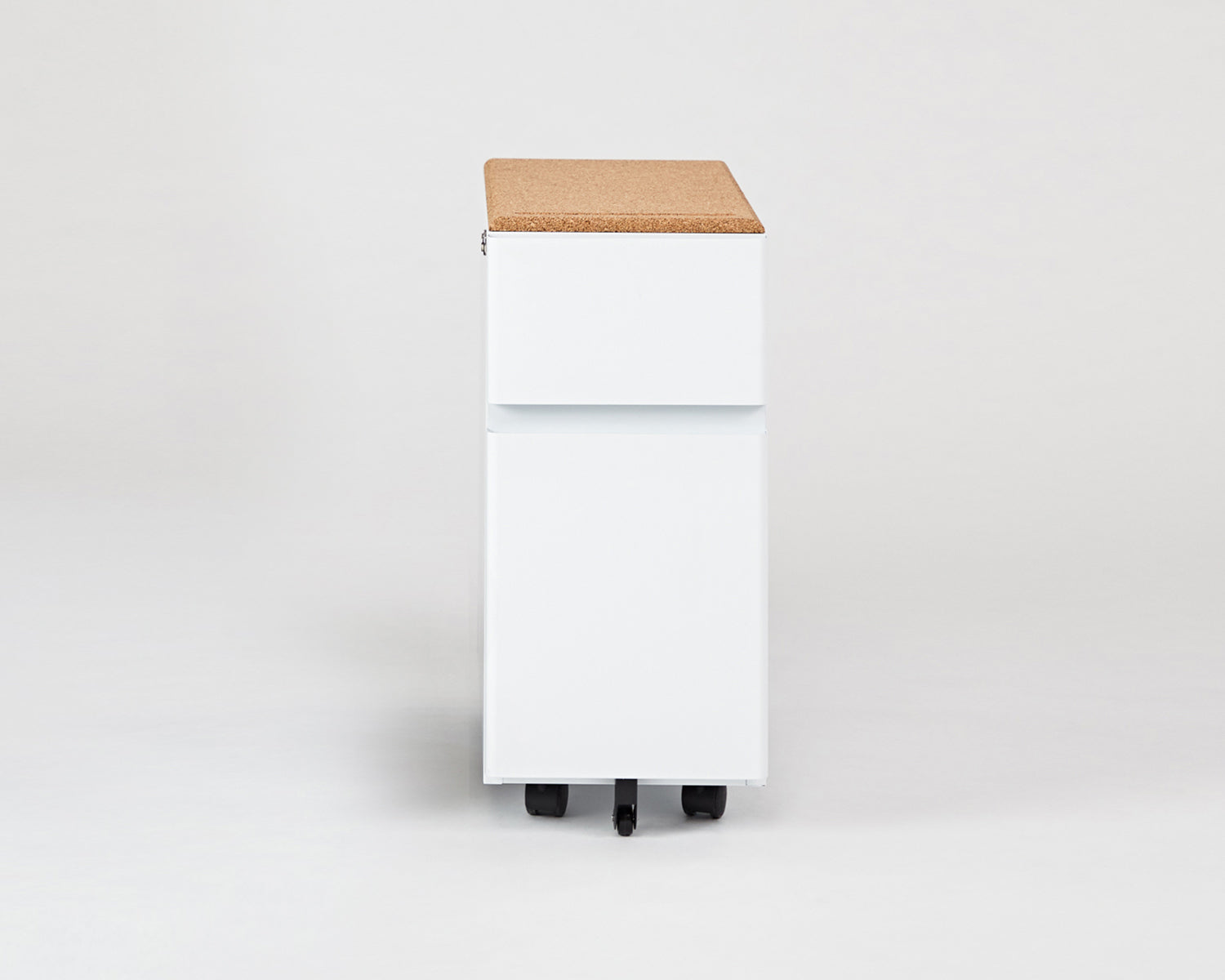 Bend File Cabinet- White, Cork Topper