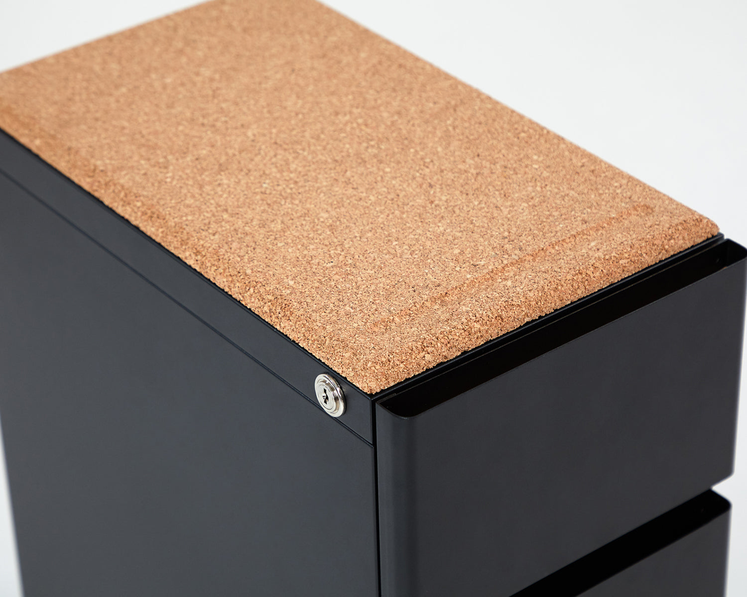 Bend File Cabinet- Black, Cork Topper