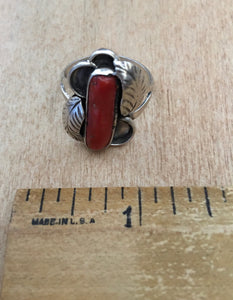 Vintage sterling and coral ring